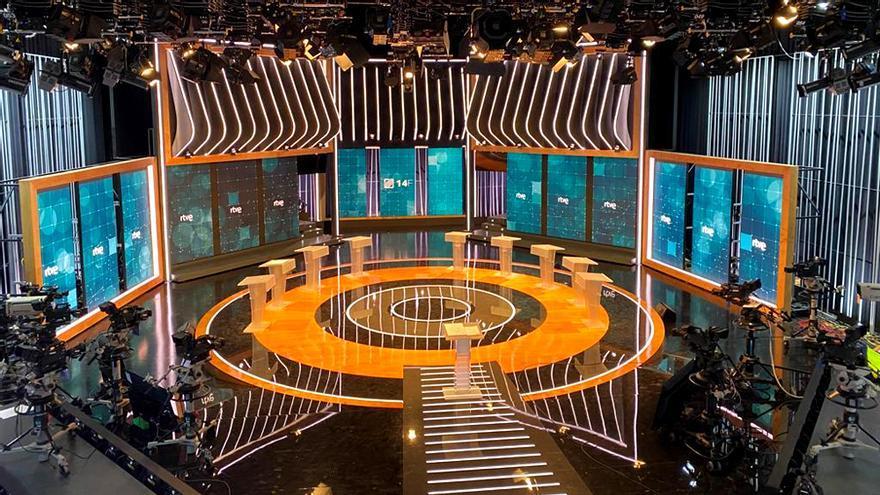 El plató de RTVE para el debate de las catalanas