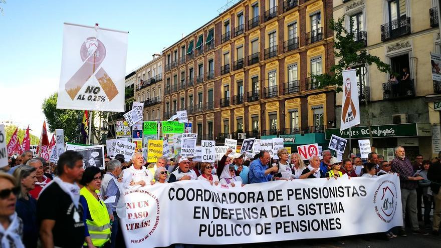 Pensionistas se manifiestan en Madrid. Imagen: Yayoflautas Madrid