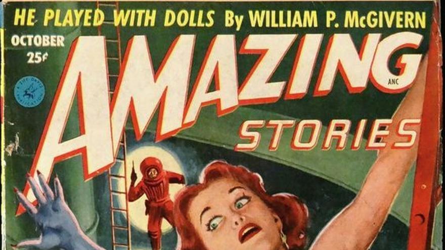 Portada de la revista Amazing Story ilustrada por Walter Popp