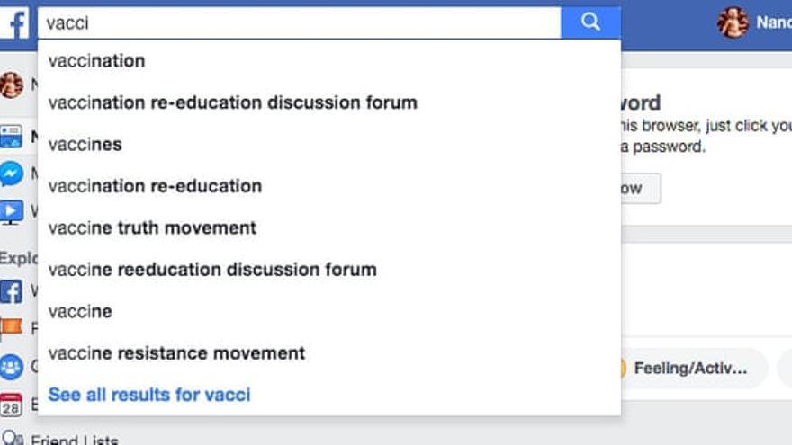Propuestas de Facebook al buscar 'vacci'.