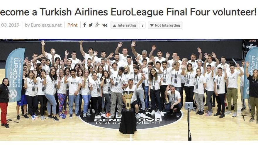 La Euroliga anunció el 3 de enero en su web que está buscando voluntarios para la Final Four