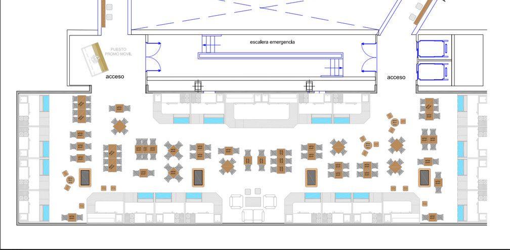 Plano de la nueva zona de comercio con degustación del Mercado Barceló, 330 metros cuadrados que acogerán a 21 operadores en su área perimetral e instalarán todo el mobiliario en una versátil zona central, con cabida también para eventos de carácter cultural