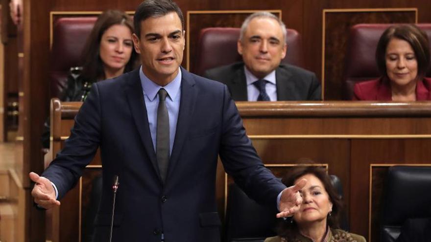 Sánchez en su intervención en la sesión de control de hoy.