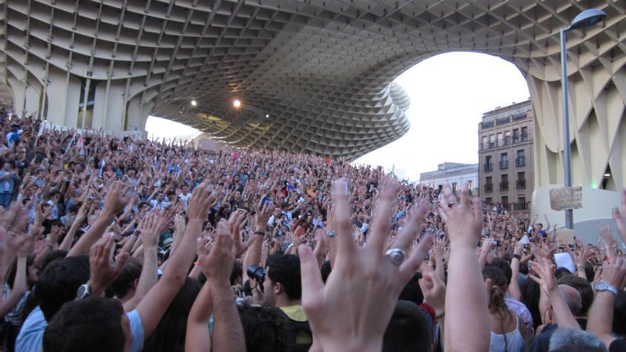 Concentración del 15M en Sevilla.