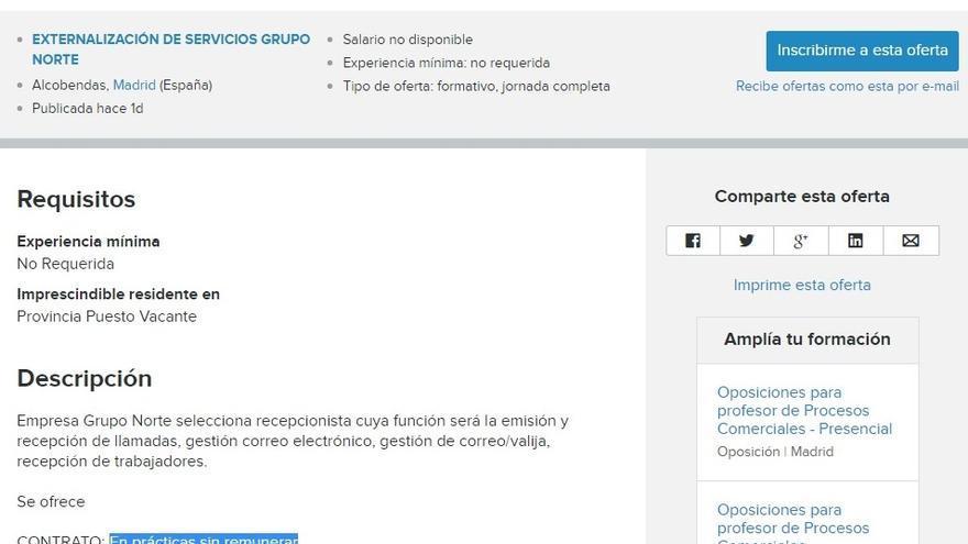 Oferta de Grupo Norte retirada del portal Infojobs.