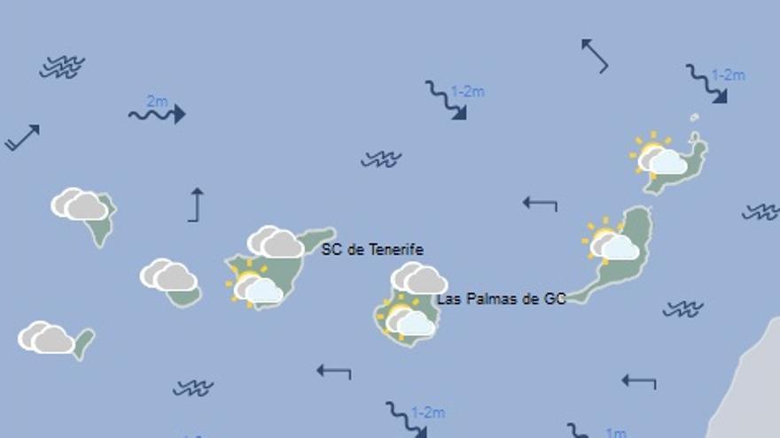Mapa con la previsión del tiempo para este lunes, 17 de octubre
