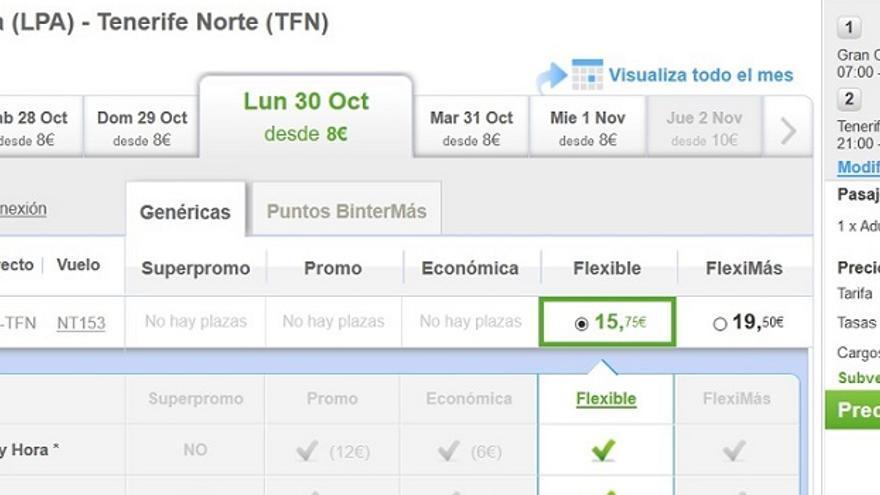 Vuelo de Gran Canaria a Tenerife que el jueves 5 de octubre aparecía como opción más barata para el 30 de octubre en Binter