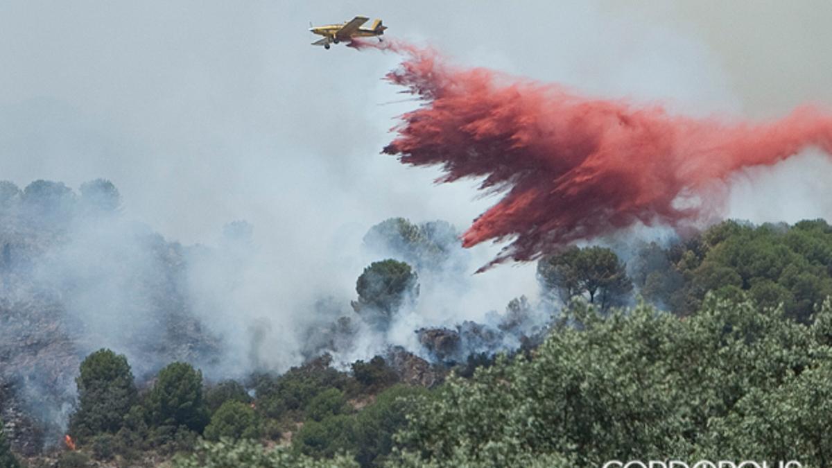 Un avión del Infoca descarga en un incendio en la Sierra de Córdoba | MADERO CUBERO