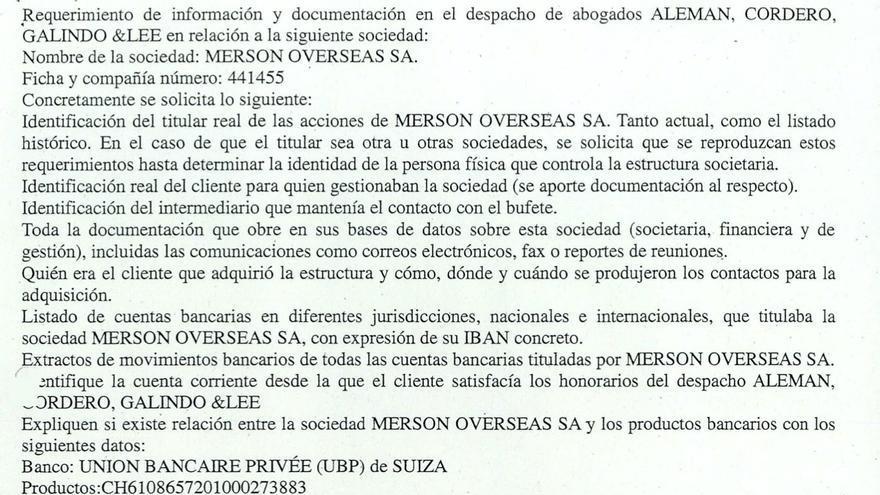 Fragmento de la solicitud de asistencia judicial en materia penal a Panamá efectuada por las autoridades españolas.