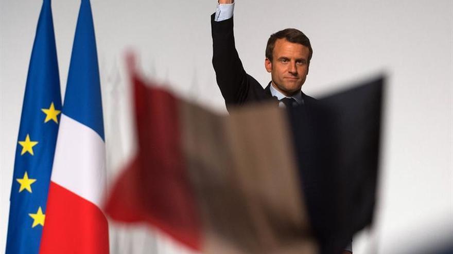 Macron, el viernes en un mitin en Chatellerault.