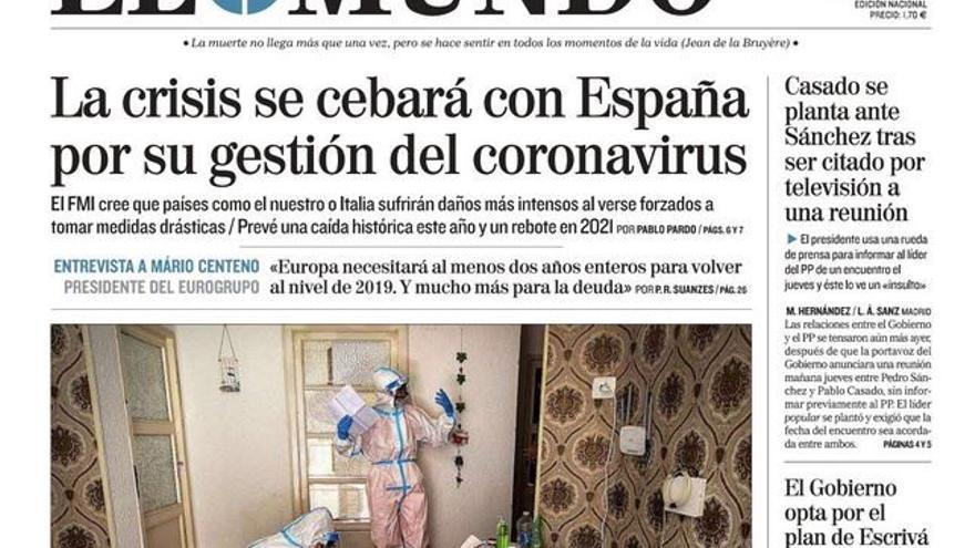 Portada de 'El Mundo' con la polémica foto.