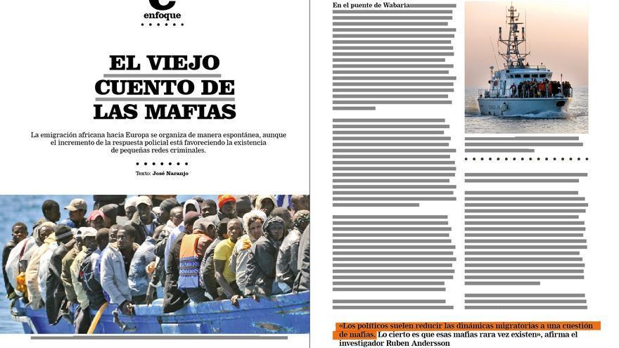 Reportaje de José Naranjo en la revista de eldiario.es sobre inmigración, Cuadernos #8.