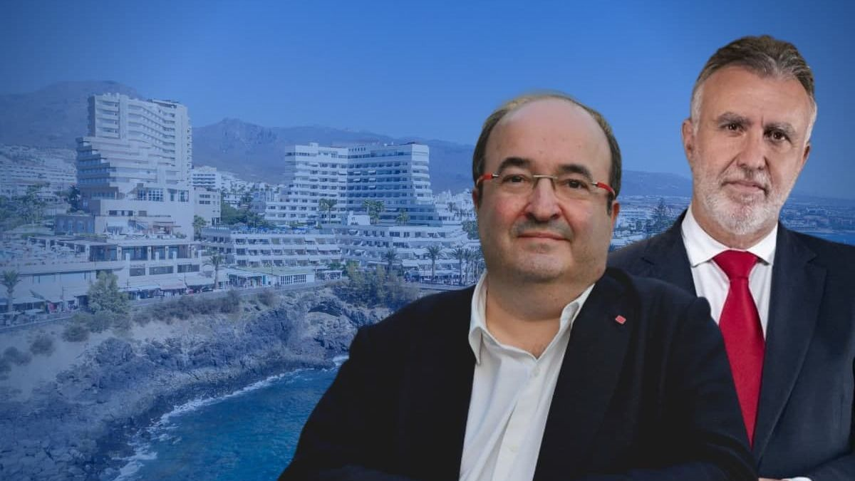 Montaje con el ministro de Política Territorial y Función Pública, Miquel Iceta, y el presidente del Gobierno de Canarias, Ángel Víctor Torres.