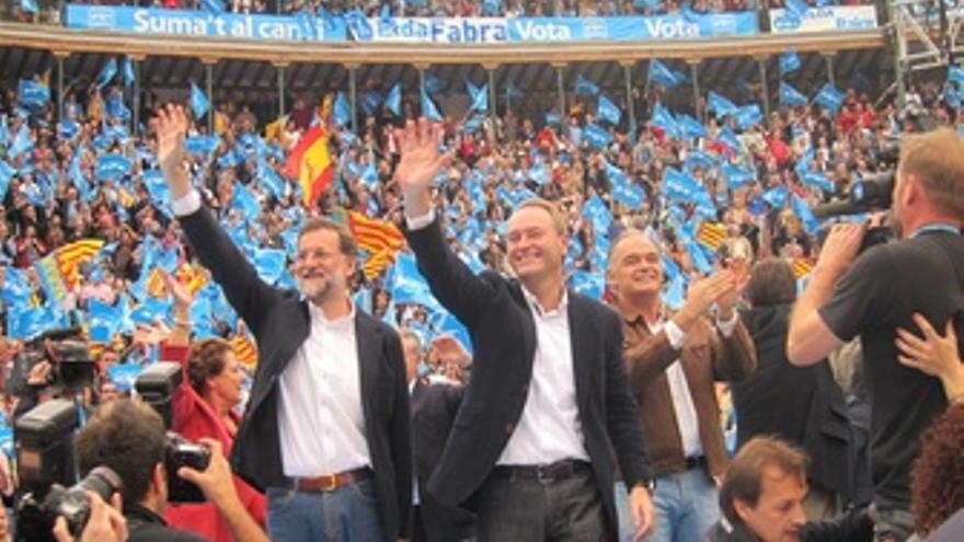 Rajoy, Fabra y González Pons En Un Mitin Del PP En Valencia