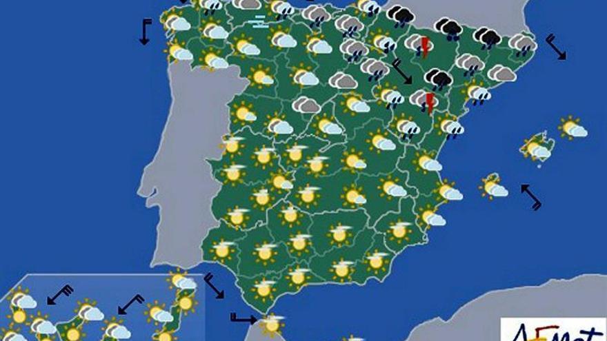 Hoy, chubascos en el nordeste peninsular y descenso de las temperaturas diurnas