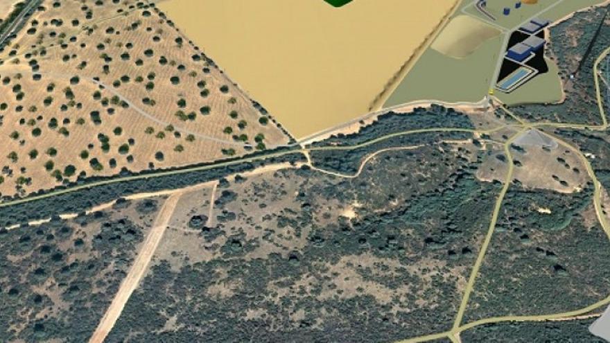 Plano aéreo de la ubicación de la mina de wolframio