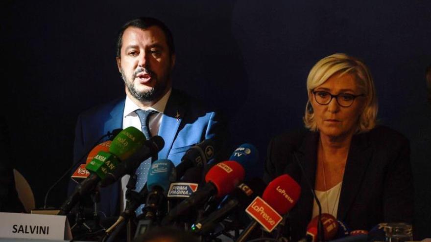 Salvini y Le Pen en una reunión celebrada el 8 de octubre en Roma.
