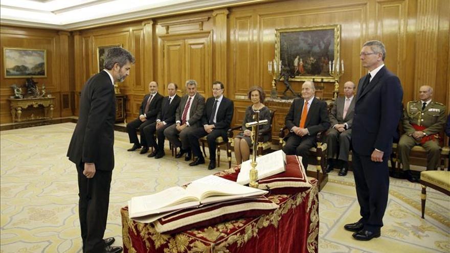 El presidente del CGPJ, Carlos Lesmes, durante su toma de posesión