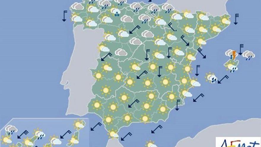 Viento fuerte en el nordeste peninsular y en Menorca para hoy