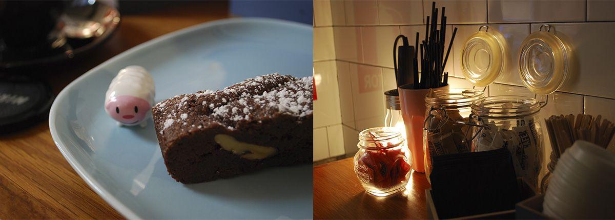 Díptico Humbert I y brownie y rincón azúcares_Malasaña a mordiscos_Toma café