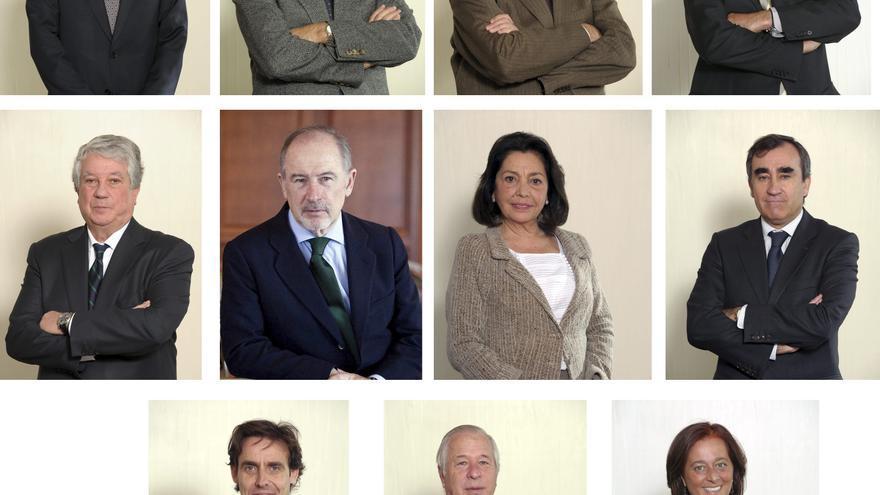 ESPAÑA-CAJAS FUSIONES:MD84. MADRID, 02/12/2010.- Combo de fotografías facilitado por Caja Madrid de los diecisiete representantes elegidos por esta entidad y por Bancaja, en el consejo de administración del nuevo banco que actúa como sociedad central de la alianza entre las dos entidades y las cajas Insular de Canarias, Ávila, Rioja, Segovia y Laietana (izda a dcha, arriba a abajo): José Manuel Fernández, Virgilio Zapatero, Pedro Bedía, José Antonio Moral, Arturo Fernández, Rodrigo Rato, Mercedes Rojo, Jorge Gómez, Javier López, Ricardo Romero de Tejada y Mercedes de la Merced. EFE/ ***SOLO USO EDITORIAL***