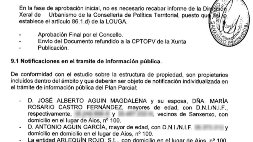 Relación de propietarios hecha pública por el Concello de Sanxenxo en el plan de urbanización para Montalvo
