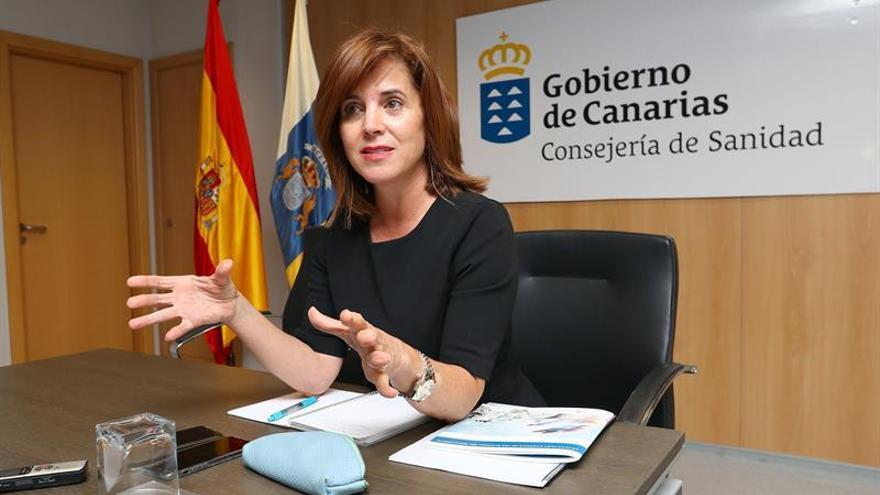La consejera de Sanidad del Gobierno de Canarias, María Teresa Cruz Oval, durante un encuentro con los medios de comunicación.