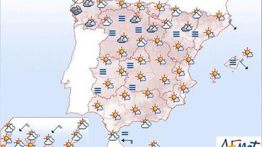 Hoy, temperaturas en aumento en la meseta sur, Mediterráneo y Canarias
