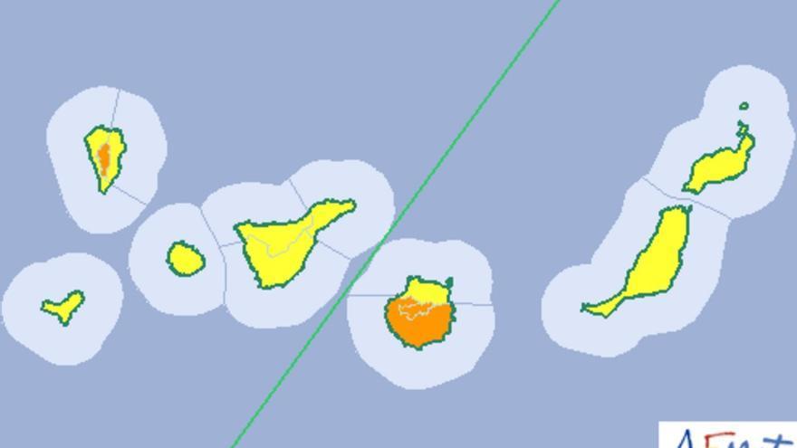 Mapa de la Aemet de riesgo por temperaturas máximas para el sábado, 6 de agosto.