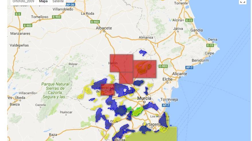 Límites de los Espacios Naturales Protegidos (ENP), Lugares de Importancia Comunitaria (LIC) y Zonas de Especial Protección para las Aves (ZEPAS) obtenidos del Geocatálogo del Sistema de Información Geográfica y Ambiental de la Región de Murcia (SIGA), Dirección General de Medio Ambiente, CARM.