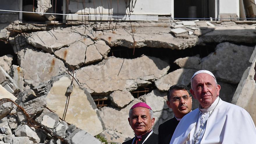 El papa Francisco en Mosul, norte de Irak