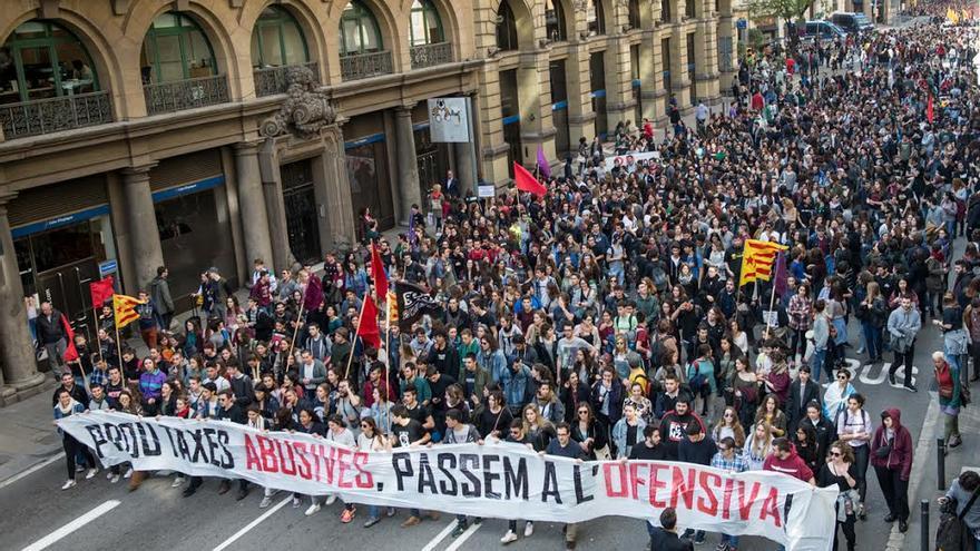 Manifestació estudiantil al centre de Barcelona