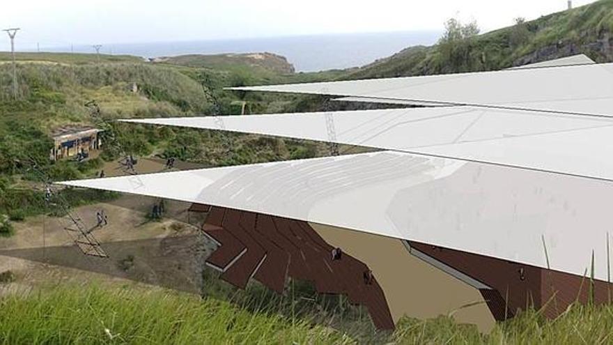 Recreación del proyecto 'Velero varado', un auditorio natural en las antiguas canteras de Cueto.