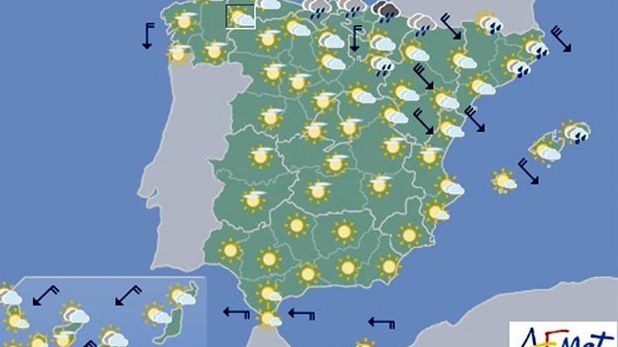 Hoy, chubascos fuertes en el este de Cataluña y de Baleares