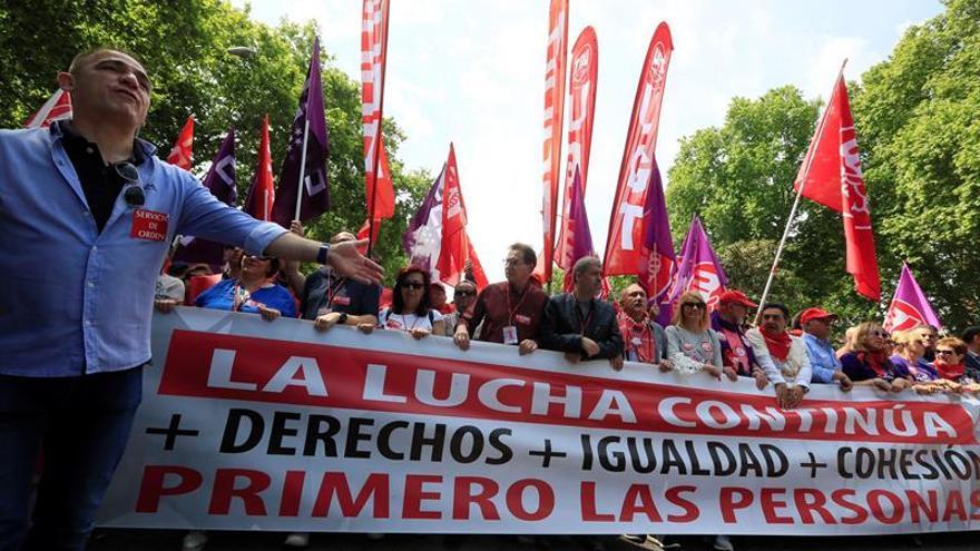 Cabecera de la manifestación del 1º de Mayo de 2019 en Madrid.