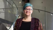 Cathy O'Neal, en la Fundación Telefónica, donde ha participado en el ciclo Tech & Society.