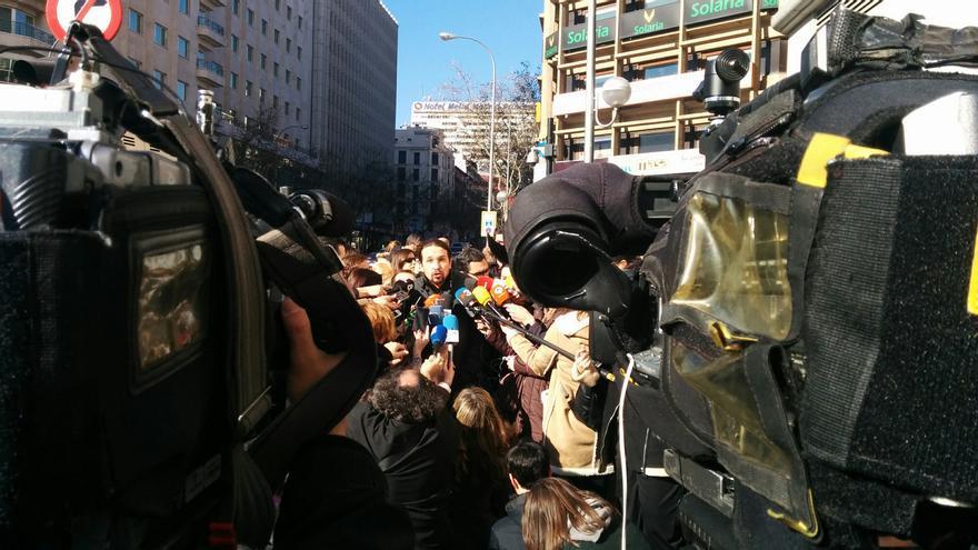 Pablo Iglesias, tras la reunión con Íñigo Errejón y los demás equipos de Podemos.