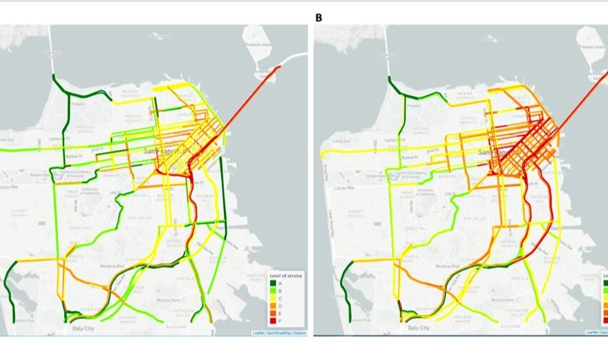 Comparación del nivel de uso de los vehículos en San Francisco entre 2009 y 2017.