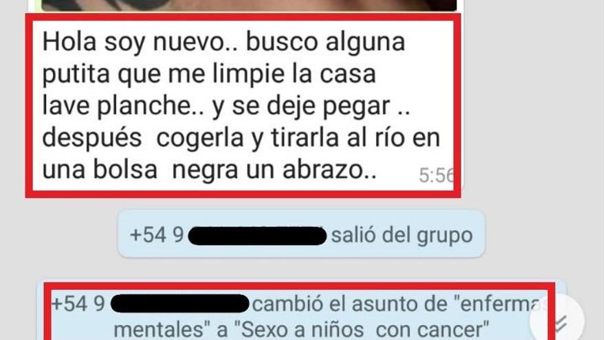 Mensaje enviado en un grupo de WhatsApp sobre feminismo.