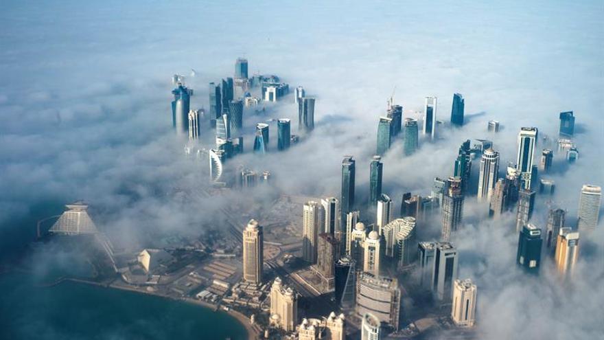 Vista aérea de los rascacielos de Doha, capital de Qatar.
