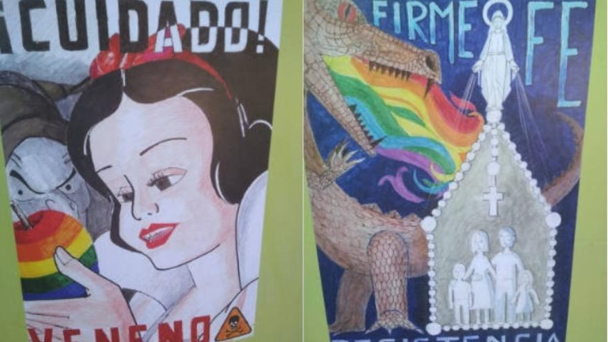Carteles homófobos aparecidos en las inmediaciones de dos colegios murcianos / JAVI NICOLÁS