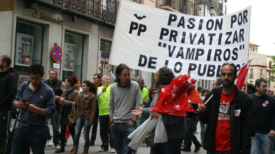 Pablo Iglesias en la movilización de interinos y conductores