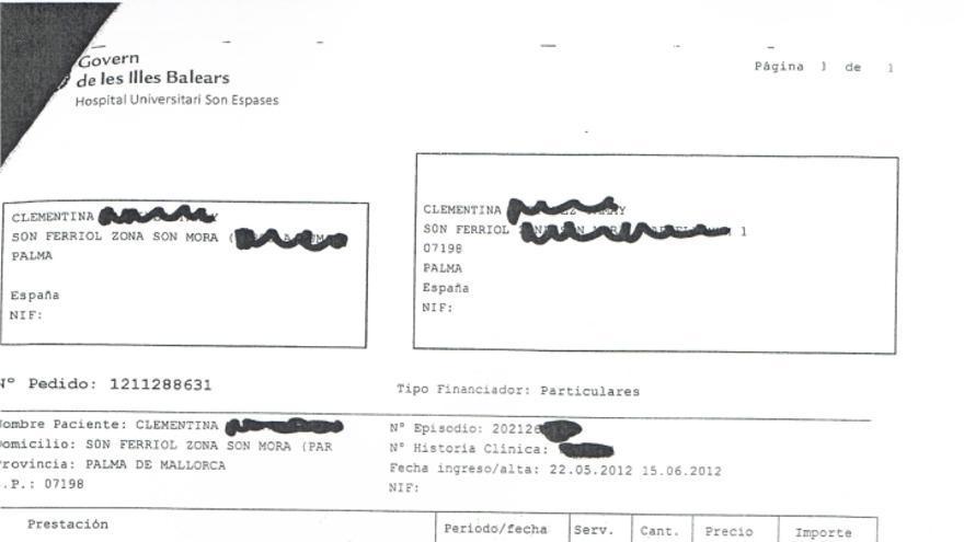 Factura emitida a una enferma de cáncer por más de 22.000 euros por atención sanitaria en Baleares.