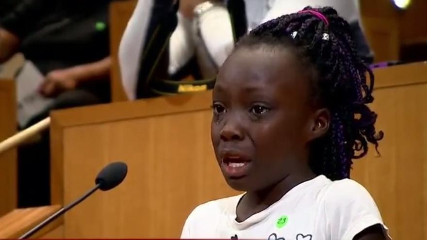 Zianna Oliphant, de 9 años, en su discurso contra el racismo en Charlotte.