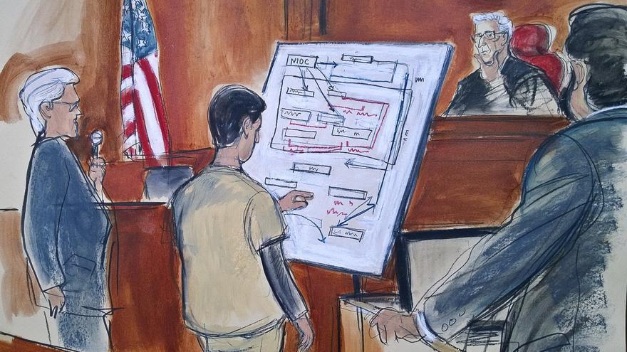 Boceto del día del juicio a Mehmet Hakan Atilla en el que Reza Zarrab (de espaldas) detalla ante el juez la trama elaborada para eludir las sanciones estadounidenses.