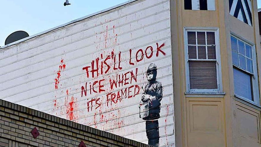 """Grafiti """"Esto quedará bonito cuando esté enmarcado"""""""