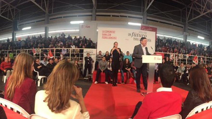 El president Ximo Puig en el acto de cierre de campaña en Mislata