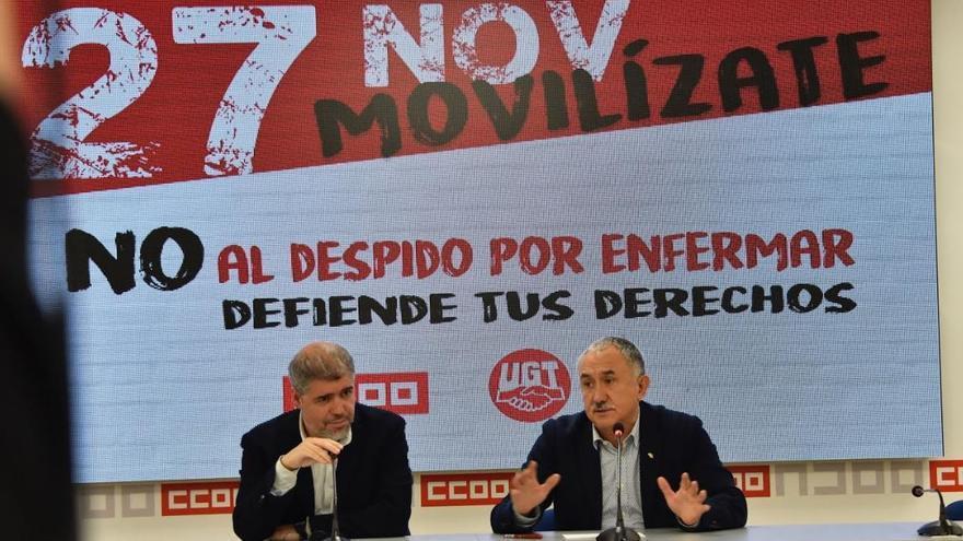 Unai Sordo (i) y Pepe Álvarez (d), en la rueda de prensa de este martes.