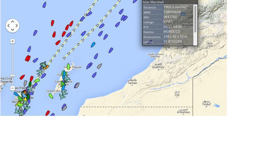 Situación del buque perforador 'Atwood Achiever' frente a la costa de Marruecos. (Fuente:Localizatodo.com).