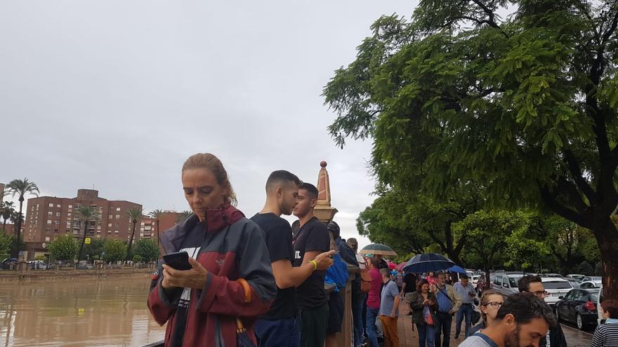 La gente se arracima en los márgenes del Segura para echar fotos de la crecida del río / E.R.